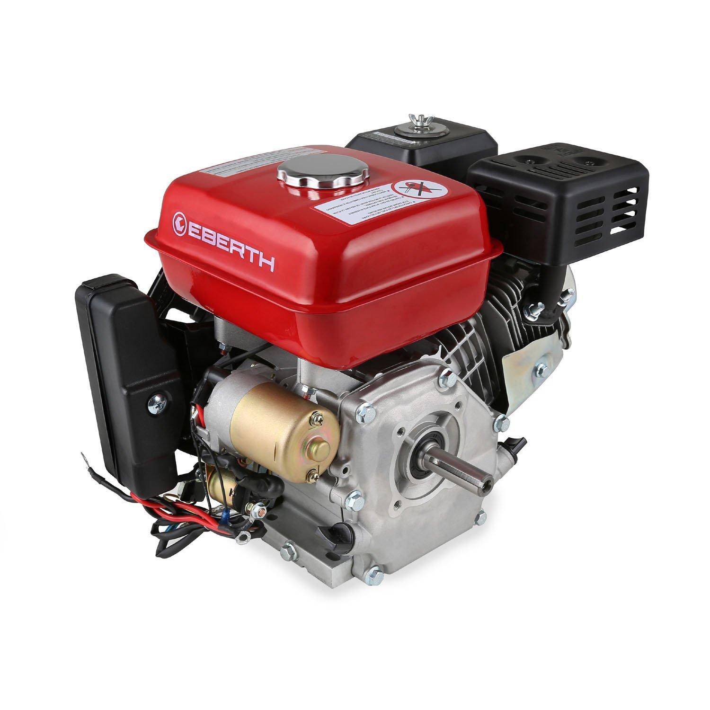 EBERTH 6,5 PS Benzin Antriebsmotor E Start (19,05 mm, 1 Zylinder, 4 Takt Motor, Seilzugstart) rot