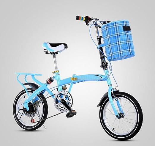 Bicicleta Plegable Bicicleta De 16 Pulgadas Con Cambio De Velocidad Bicicleta Ligera Vehículo Adulto Bicicleta Para Niños Macho Mujer Estudiante Bicicleta,Blue-16in: Amazon.es: Hogar