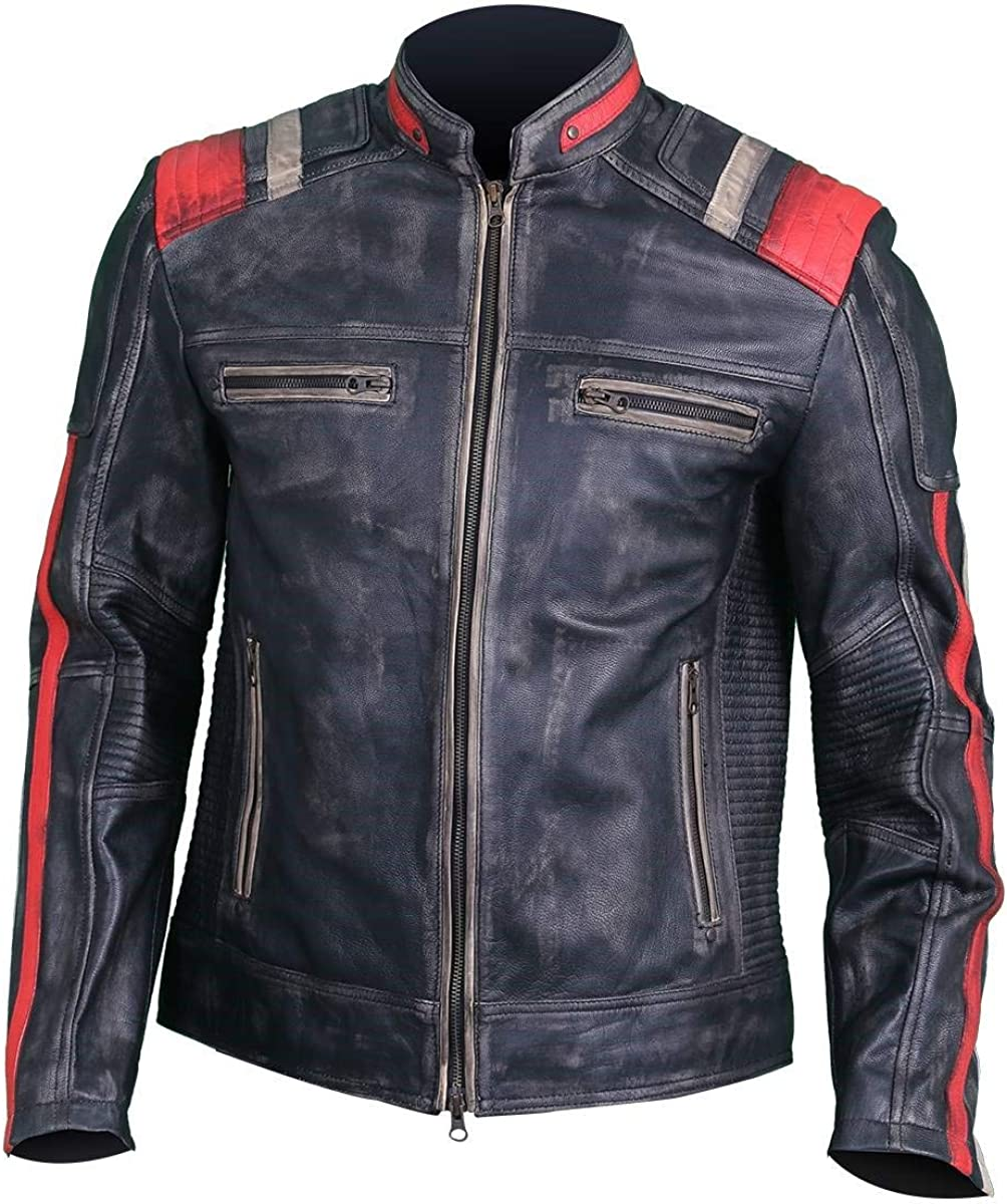 Dunhill Leather Cafe Racer - Chaqueta de Piel Envejecida para Motocicleta, Estilo Retro