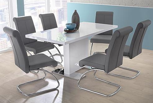 Esstisch ausziehbar weiß  Esstisch ausziehbar weiß hochglanz, 80 cm breit | Esszimmertisch ...
