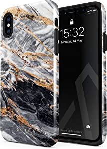 BURGA Phone Case Compatible with iPhone Xs MAX - Black and Gold Marble Stone Cute Case for Girls Heavy Duty Shockproof Dual Layer Hard Shell + Silicone Protective Cover