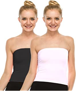 4ed86256e2 Espresso Women s Strapless Bandeau Tube Tops - Pack of 2  Amazon.in ...