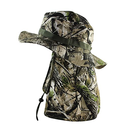86f1efb222 Tactical Camouflage Sun Hat Bucket Hat Hiking Fishing Cap with Flaps UV  UPF50+ at Amazon Men s Clothing store