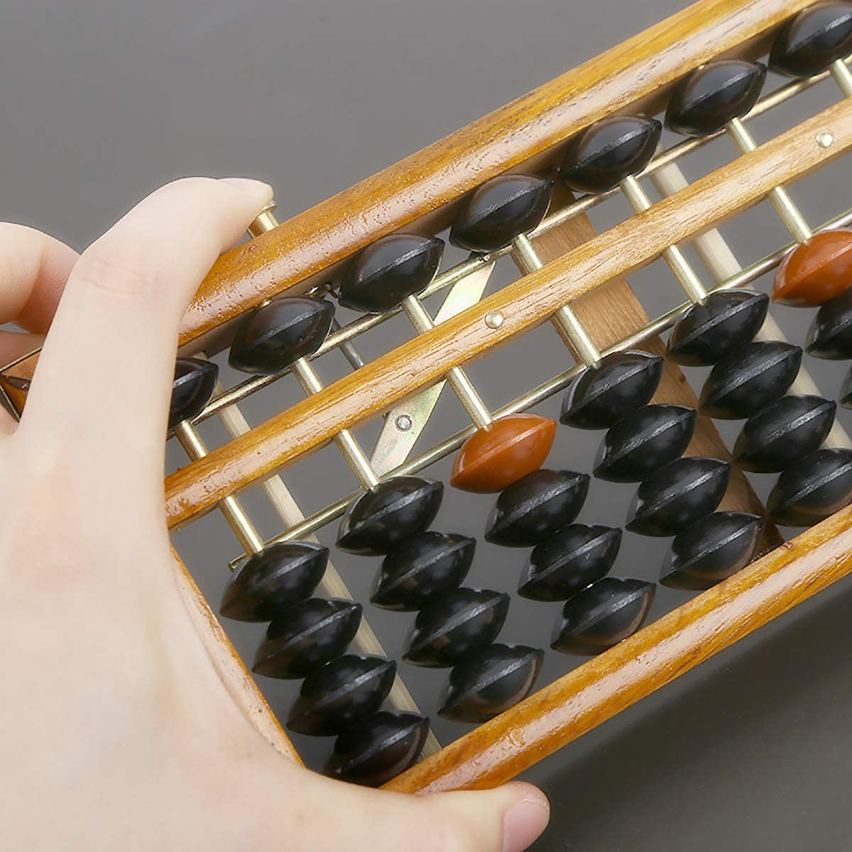 17 Ziffern St/äbchen Vintage Stil Abacus Soroban Taschenrechner Z/ählwerkzeug mit Reset-Taste Handwerkskunst