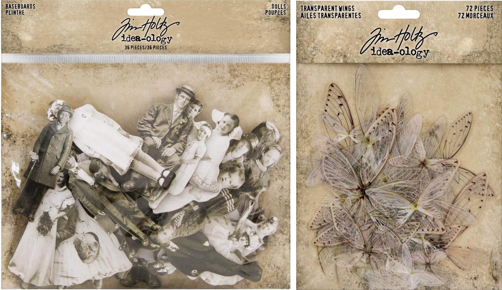 Idea-ology Tim Holtz Baseboard Dolls and Transparent Wings - 2 Item Bundle