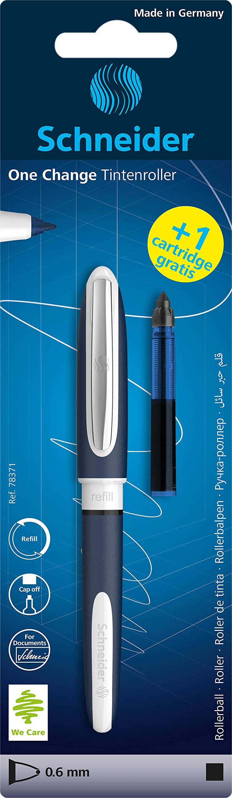 Schneider One Change 78371 Refillable Rollerball Pen Blue with 2 Cartridges Plus 1 Cartridge Free Black
