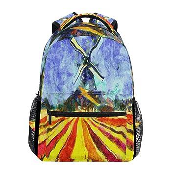 Wamika Van Gogh - Mochila Impermeable para Pintar al óleo, diseño de Tulipanes holandeses, Color Azul, Amarillo, Rojo: Amazon.es: Deportes y aire libre