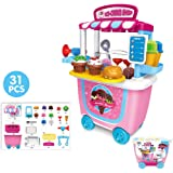 Leagway Pretend Play Ice Cream Trolley Shop Toy Set, Gourmet Ice Cream Cart Food Truck Play Set, 31Pcs/Set Children Pretend Role Play Toys for Kids Boys Girls Toddler
