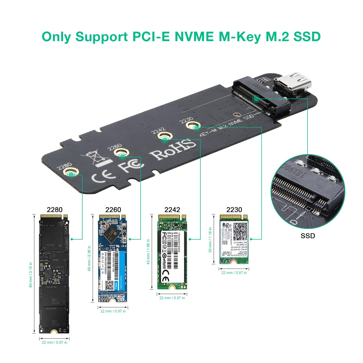 USB 3.1 Type-C to M.2 NVMe SSD Adapter,M-Key PCI-E NVMe SSD Based to USB 10GBPS External M.2 PCI-E NVMe Hard Drive Reader Adapter Support Drive Type 2230 2242 2260 2280 by CHOETECH (Image #4)
