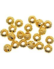 D DOLITY 20 Piece Brass Large Hole Hollow Spacer Loose Beads for Jewelry Making DIY Crafts DIY Necklaces Bracelets 12mm