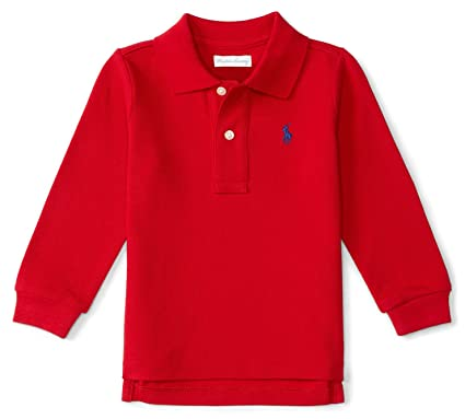 Amazon.com  Ralph Lauren Baby Boys  Cotton Mesh Long Sleeve Polo ... 971e0a397e64