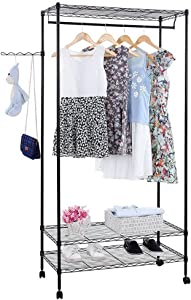 Firlar Hanging Closet Garment Rack, 3-Tier Closet Organizer, Metal Portable Rolling Clothes Rack on Wheels, Clothes Hanger Home Shelf
