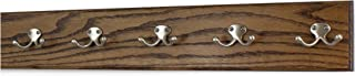 "product image for Oak Coat Rack with Satin Nickel Double Hooks 4.5"" Ultra-wide (Walnut, 25.5"" x 4.5"" with 5 Hooks)"