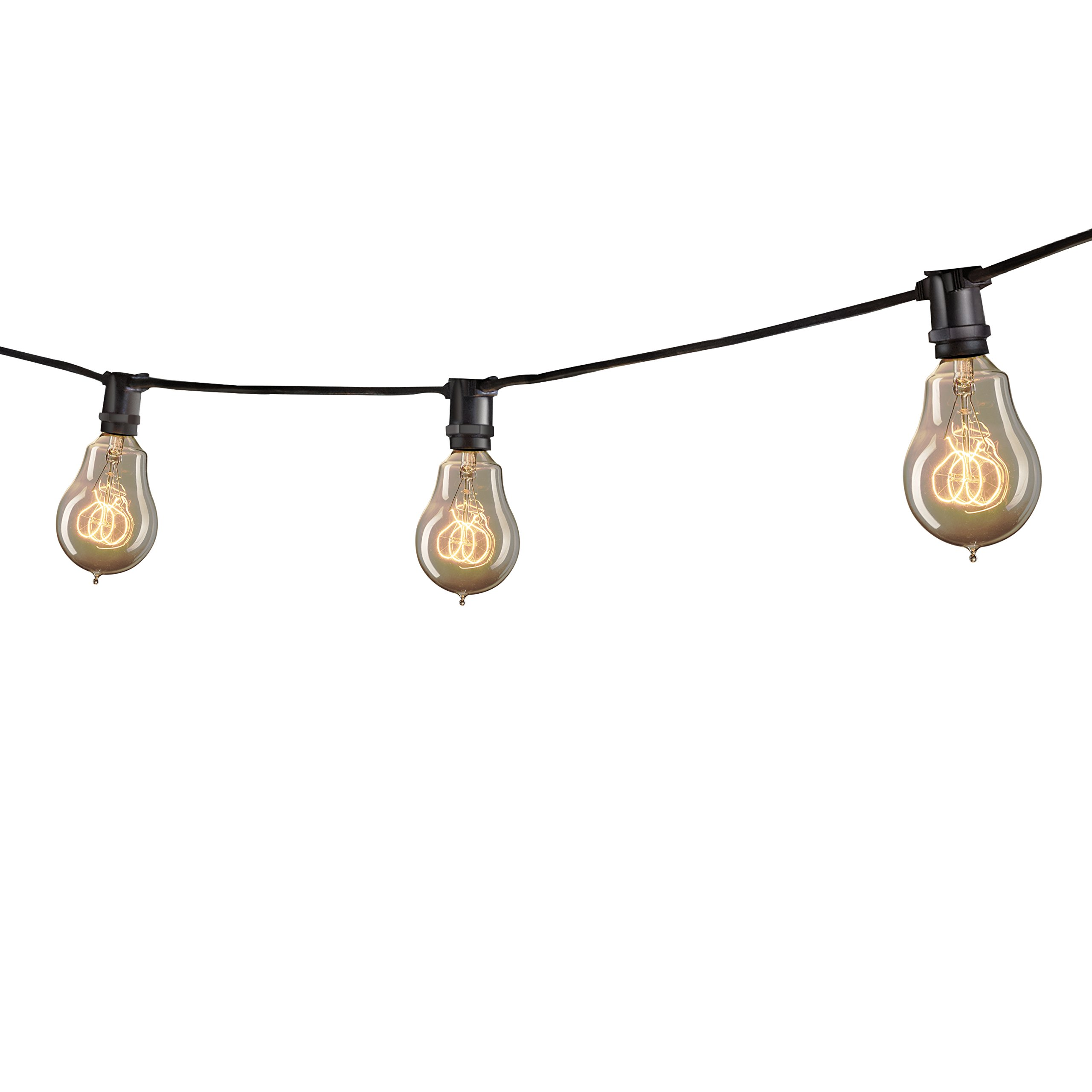 Bulbrite STRING15/E12/BLACK-NOSA15KT Outdoor Mini String Light w/Vintage Edison Bulbs, 25-Feet, 15 Lights Sockets, Black