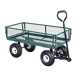 Giantex Garden Utility Cart with Steel Frame and Padded Handle Removable Sides, 330-Pound Capacity, Wheeled Yard Cart, Green