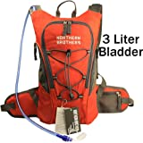 Hydration Backpack Bladder Pack Daypack with 3 Liter/100 oz Reservoirs Water Bladder Bag for Hiking, Running, Camping, Climbing, Cycling, Walking, Hunting (Orange Backpack + 3L Bladder)