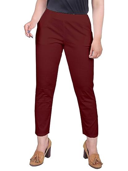 Broadstar Women Regular Fit Cotton Lycra Baby Pink Trouser