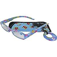 Elizabeth Rose Leesbril voor dames met veters, roze bloemenprint, bijpassend etui, lichtgewicht comfortabele bril voor…
