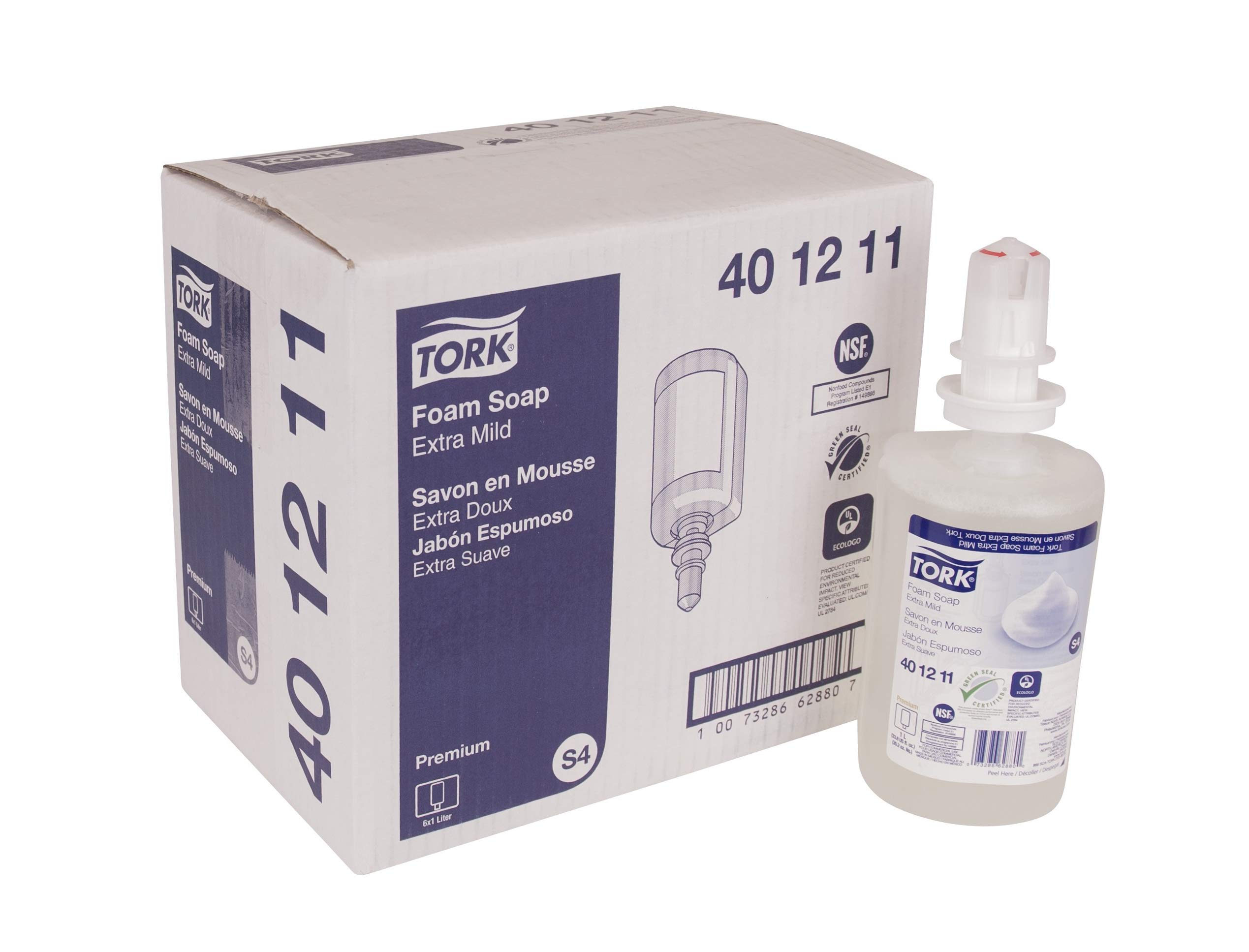 Tork 401211 Premium Extra Mild Foam Soap, Colorless, 1 Liter Bottle, for use with Tork 466000, 466100, 466200, 571501, 571508, 571600, 571608, 682830 or 682840