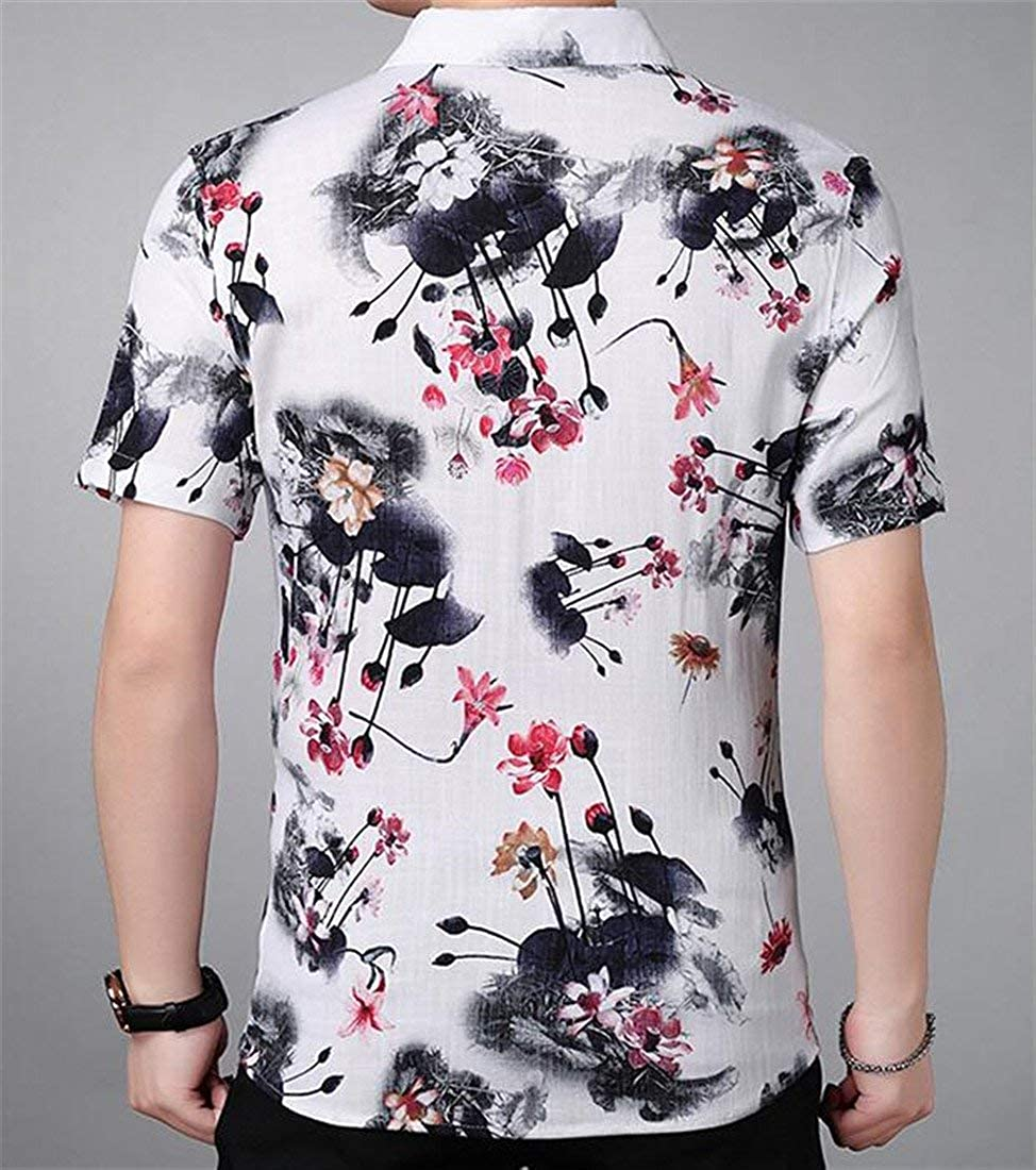 BU2HMen Classic Fit Ink Printing Short Sleeve Linen Casual Shirts
