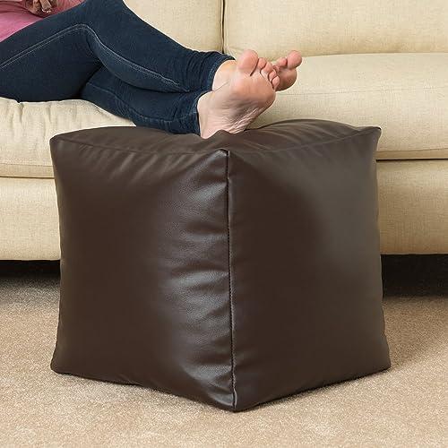 CUBE Bean Bag Faux Leather BROWN - Beanbag Footstool by Bean Bag Bazaar®