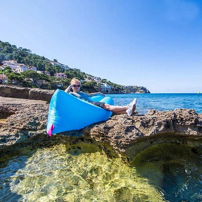 Tumbona/Puff Inflable con Viento Tejido de Nailon - Ideal para la Playa, para la pileta, para el Camping y Todo Tipo de Actividades al Aire Libre