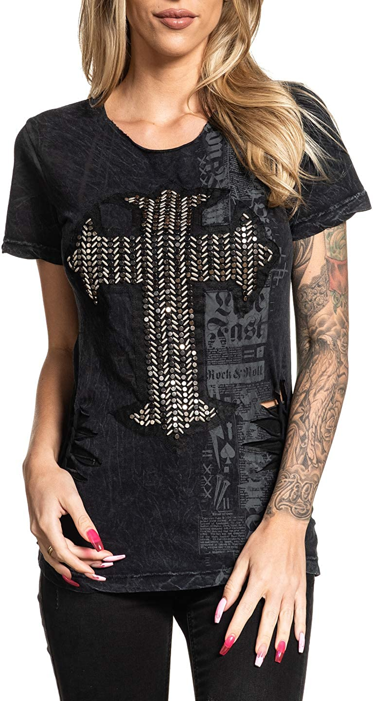 Affliction Womens Graphic Upon Short Sleeve Scoop T-Shirt
