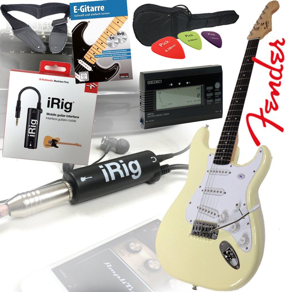 Fender Squier Bullet Strat guitarra eléctrica en Arctic White - Blanco + iRig Guitarra Interfaz para iPhone y iPad Juego con original Seiko Afinador, funda, ...