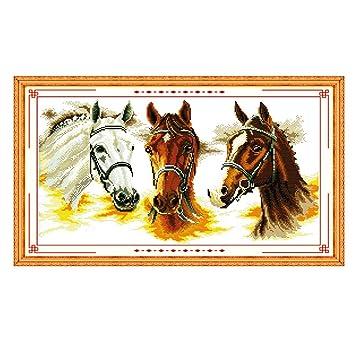 ECMQS 55 × 32 cm Caballos DIY Hecho a Mano Punto de Cruz Bordado Kit de Ajustar, Arte artesanía hogar decoración: Amazon.es: Productos para mascotas