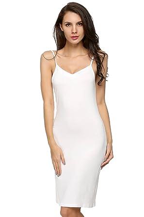 cute cheap high fashion lowest price adomer Chemise de Nuit Femme Fond de Robe Coton V-orné avec Bretelles  Réglables S-XXL