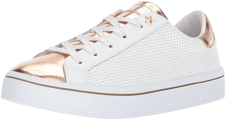 Skechers Women's Hi-Lite-Metallic Toe and Tongue Sneaker B0741V1YC9 6 B(M) US White Rose Gold