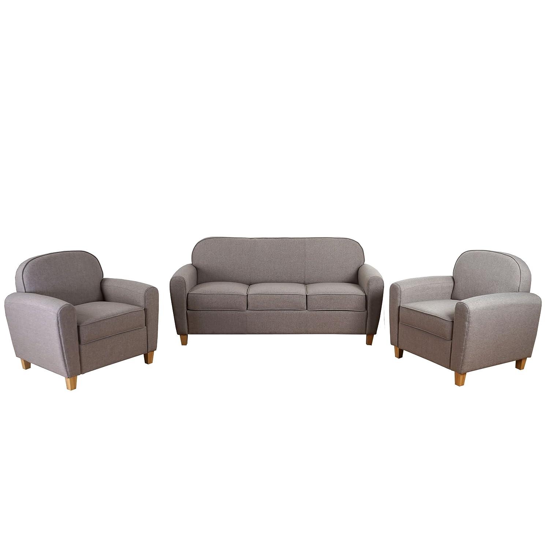 3-1-1 Sofagarnitur Malmö T377, Couch Loungesofa, Retro 50er Jahre Design ~ grau, Textil