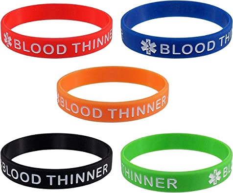 Vnox 5 Pcs a Set Silicone BLOOD THINNER Medical Alert ID Wristband Bangle Identification Bracelet