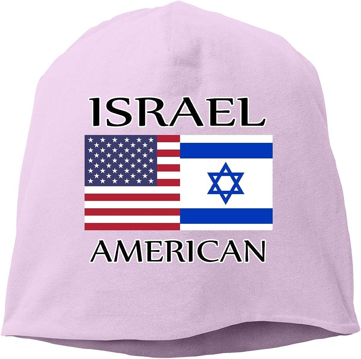 SHA45TM Israel American Flag Men Women Winter Skull Cap Running Beanie Hat