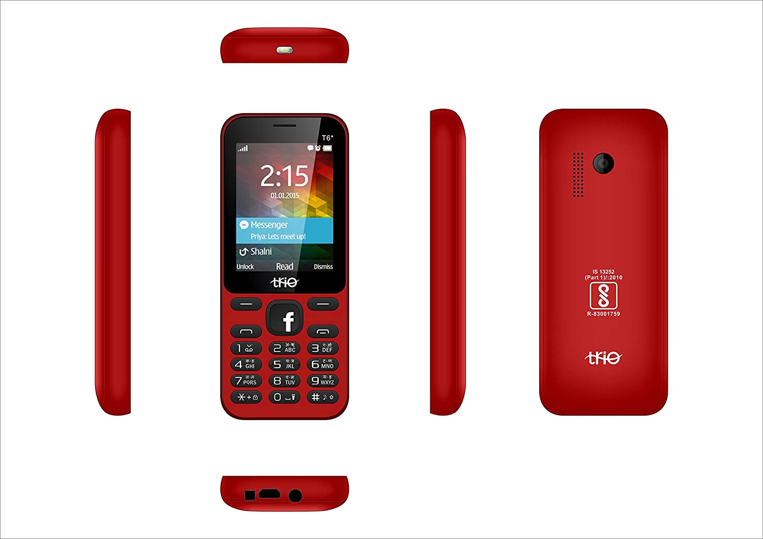 Trio T6 Star Red Black 2.4 inch display Cell Phone With