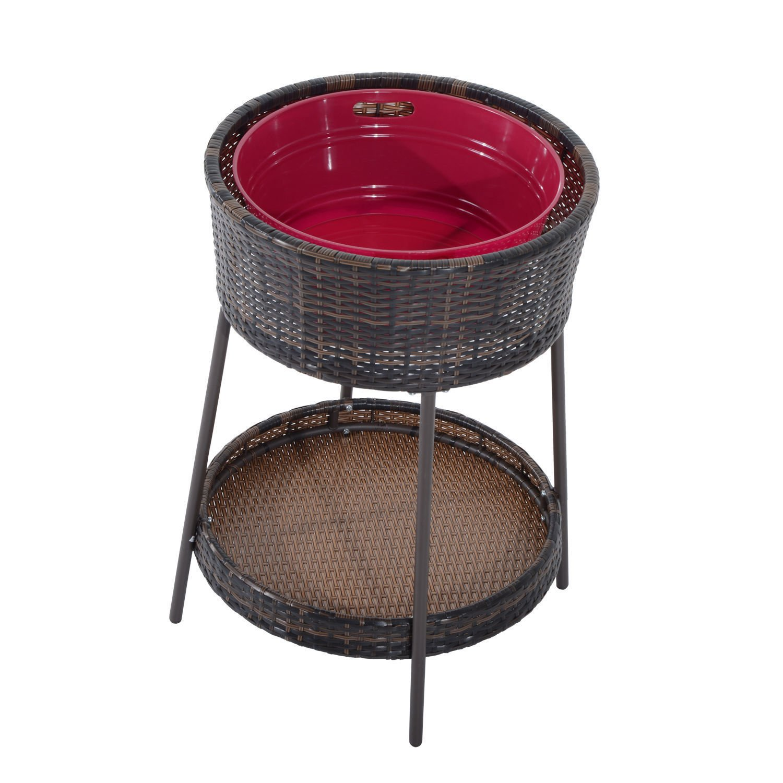 25'' Large Rattan Wicker Ice Bucket Patio Cooler Beverage Drink Party Pool Yard