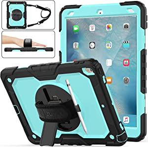 "iPad Air 3rd Gen 2019/iPad Pro 10.5"" 2017 Case, [Full-Body] & [Shock Proof] Armor Protective Case with 360 Rotating Stand & Strap for iPad Air 3 10.5"" 2019/iPad Pro 10.5"" 2017 (SkyBlue+Black)"