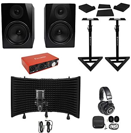 "Focusrite Package w/Interface+6.5"" Monitors+Condenser Mic+Headphones+Stands"