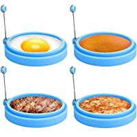 Anillos de huevo de silicona, 4 pulgadas de grado alimenticio, anillo antiadherente para huevo frito, molde de anillo de…