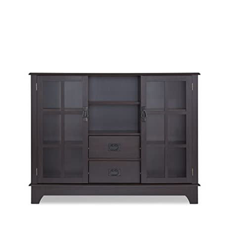 Lovely ComfortScape Wooden Console Table With Storage And Tempered Glass Door,  Espresso