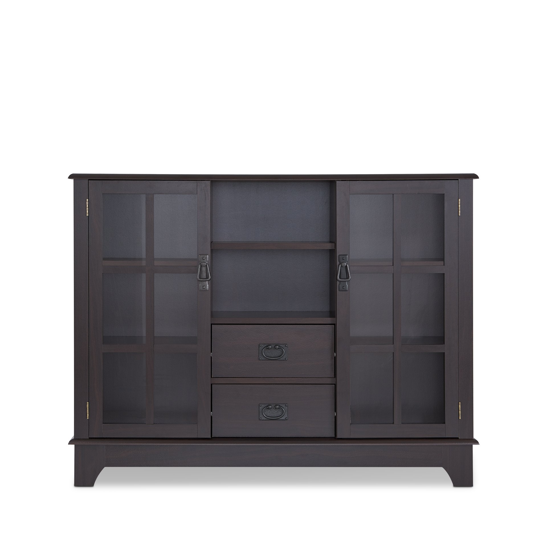ComfortScape Wooden Console Table with Storage and Tempered Glass Door, Espresso