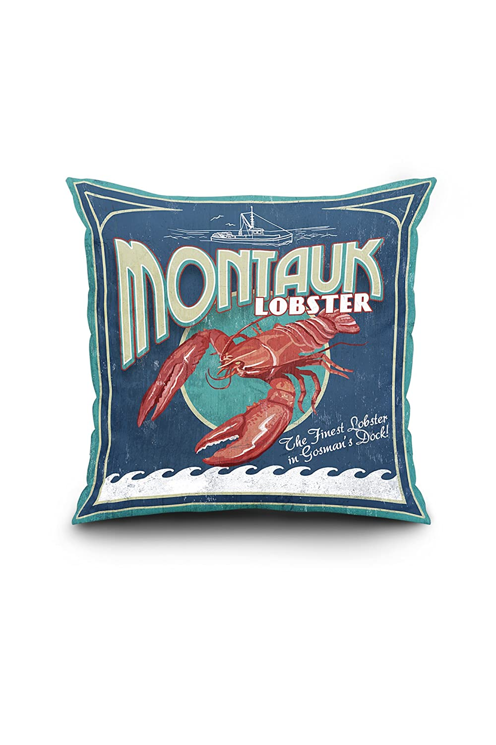 Montauk、ニューヨーク – Lobster Vintage Sign 18 x 18 Pillow (Full Art Border) LANT-3P-PW-SQ-40648-18x18 B01N99TPLP  18 x 18 Pillow (Full Art Border)