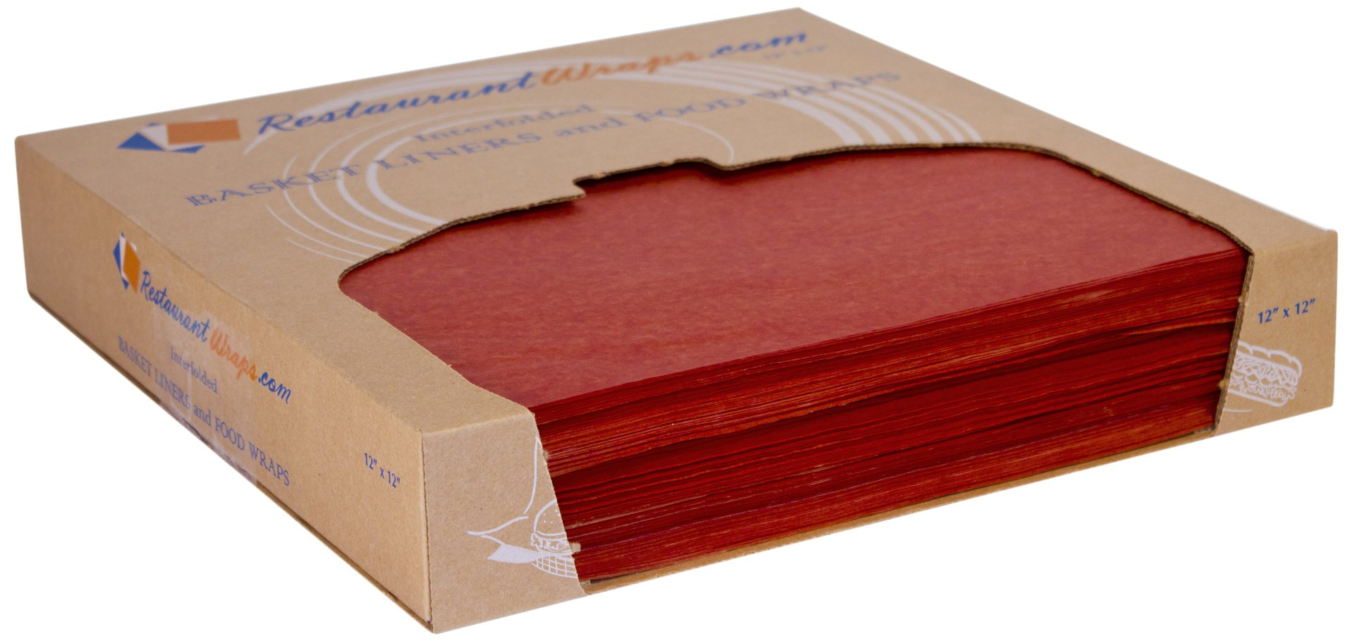 RestaurantWraps.com Waxed Sheets, Basket Liner and Food Wrap, 12'' x 12'', Cinnamon (6 Packs of 1000 Sheets)