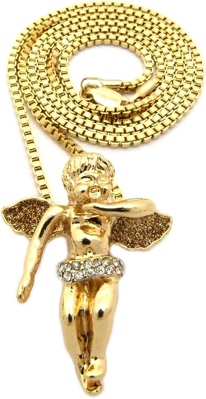 Sparkled Micro Baby Angel Cherub Pendant 2mm 24 Box Chain Necklace Gold Tone MMP87GGBX