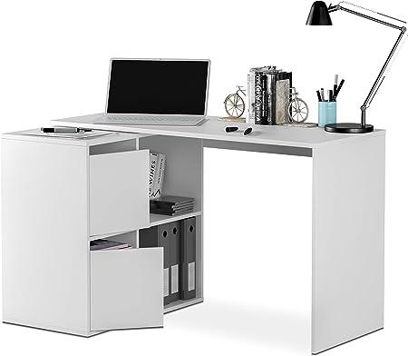 Habitdesign 008311A - Mesa escritorio, mueble de despacho, modelo Adapta, color Blanco Artik, medidas: 74 x 120 x 77 cm