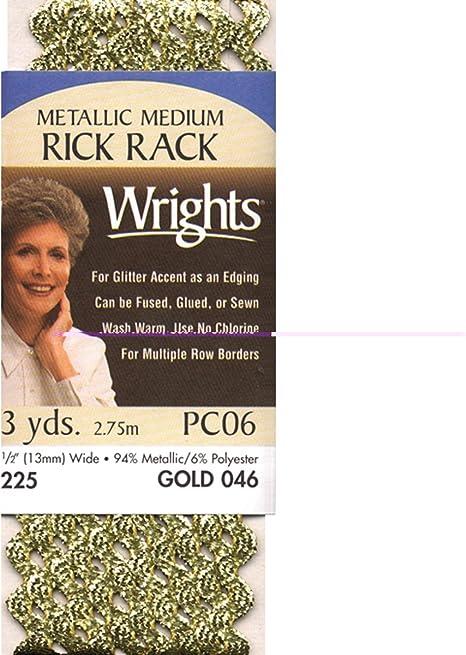 Wrights 117-225-046 Medium Metallic Rick Rack 3 yd Gold
