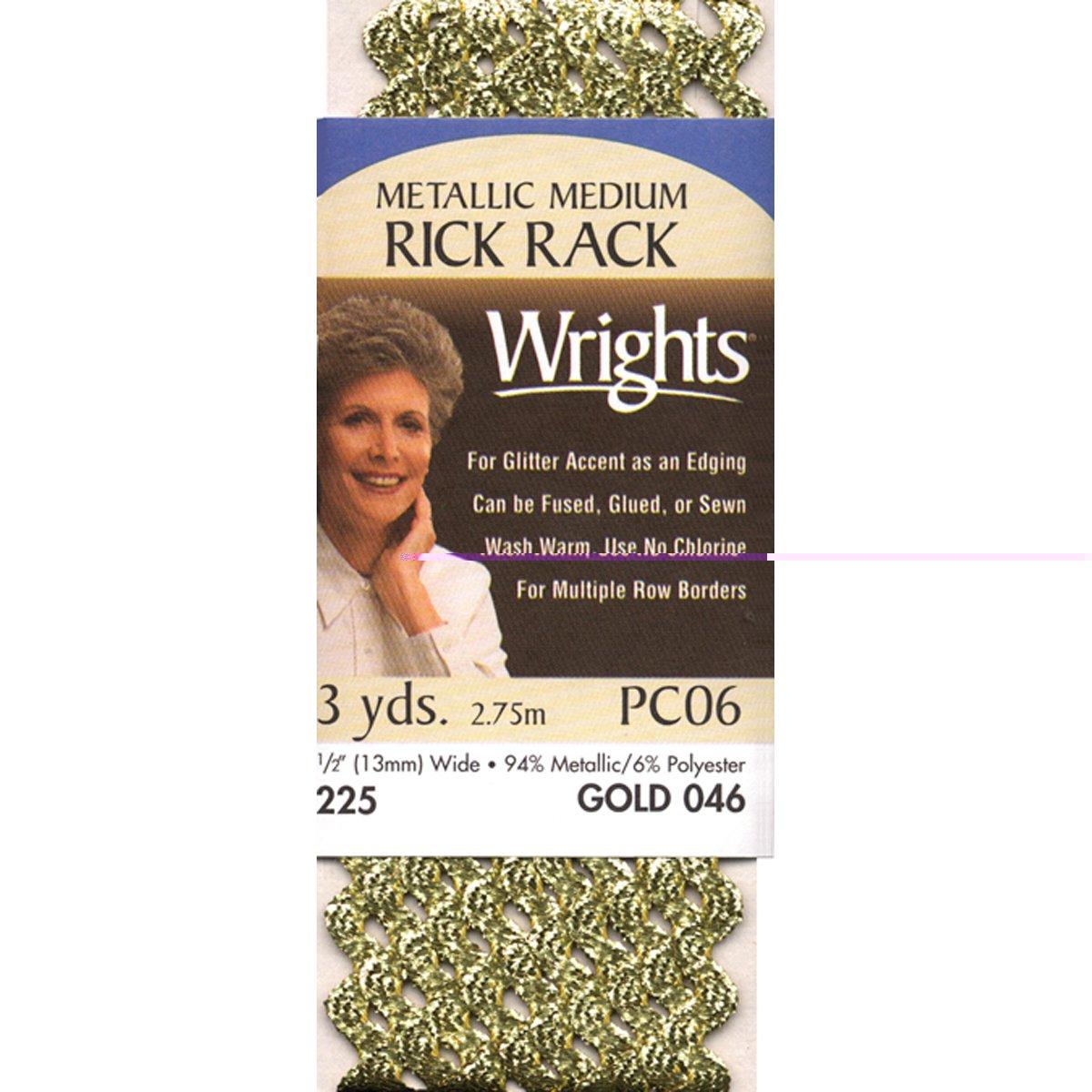 Wrights 117-225-070 Medium Metallic Rick Rack, Silver, 3 yd Notions - In Network