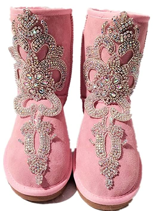 2017 new pink thick Australian snow boots handmade original shoes leather women boots