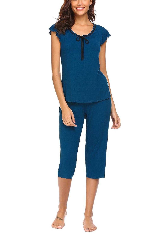 Unibelle Damen Zweiteiliger Schlafanzug 3//4 Sommer Plissierter Rundhals Pyjama Set
