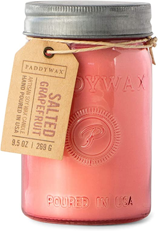 Set of 4 Paddywax Candles Relish Jar Collection Candle 9.5-Ounce Pink Salted Grapefruit